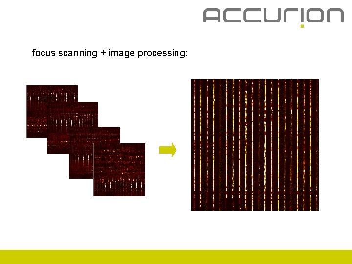 focus scanning + image processing: