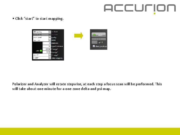 """• Click """"start"""" to start mapping. Polarizer and Analyzer will rotate stepwise, at"""