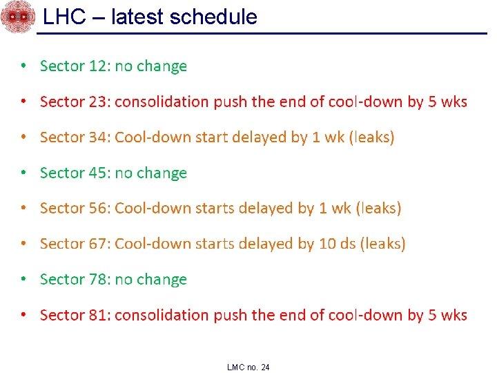 LHC – latest schedule LMC no. 24