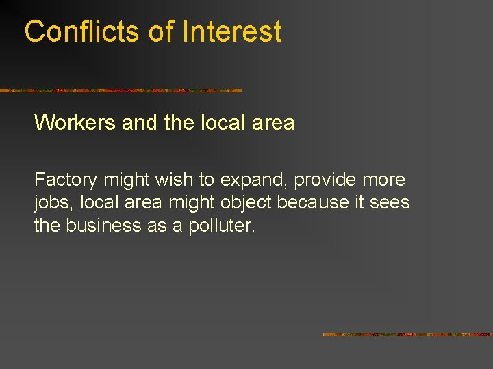 Conflicts of Interest Workers and the local area Factory might wish to expand, provide
