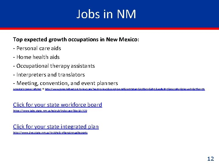 Jobs in NM Top expected growth occupations in New Mexico: - Personal care aids