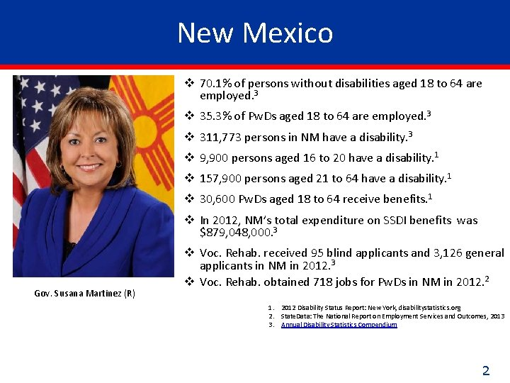 New Mexico v 70. 1% of persons without disabilities aged 18 to 64 are