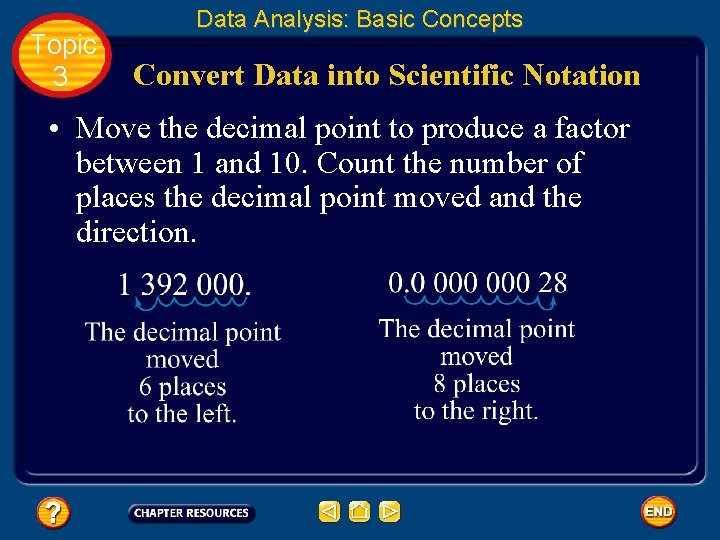Topic 3 Data Analysis: Basic Concepts Convert Data into Scientific Notation • Move the