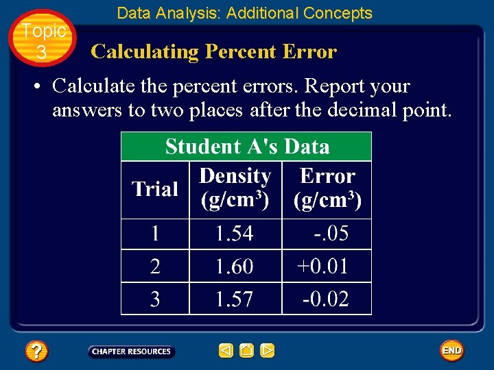 Topic 3 Data Analysis: Additional Concepts Calculating Percent Error • Calculate the percent errors.