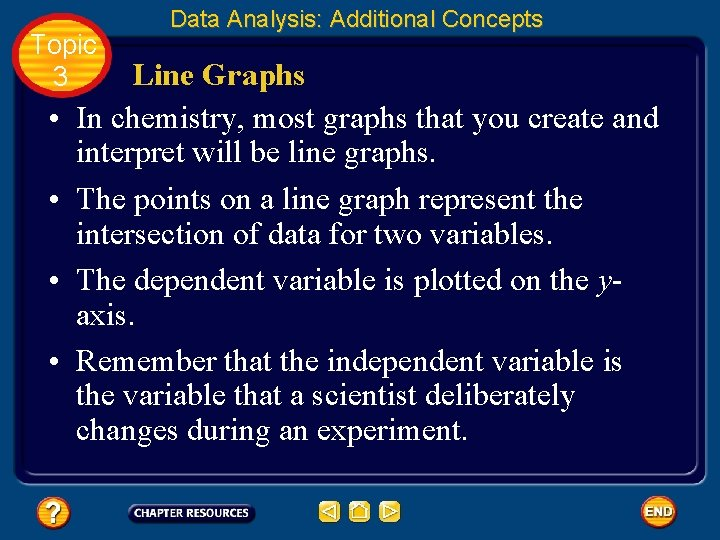 Topic 3 • • Data Analysis: Additional Concepts Line Graphs In chemistry, most graphs