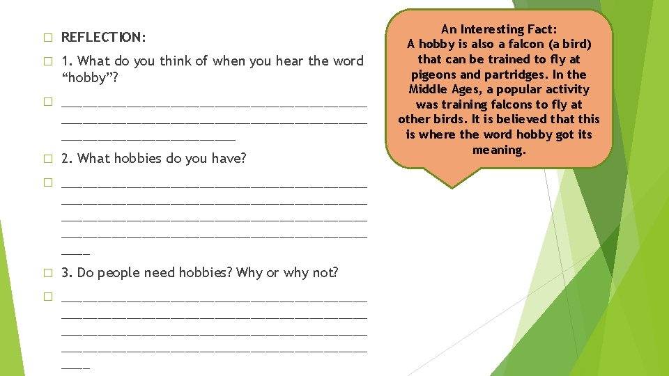 � REFLECTION: � 1. What do you think of when you hear the word