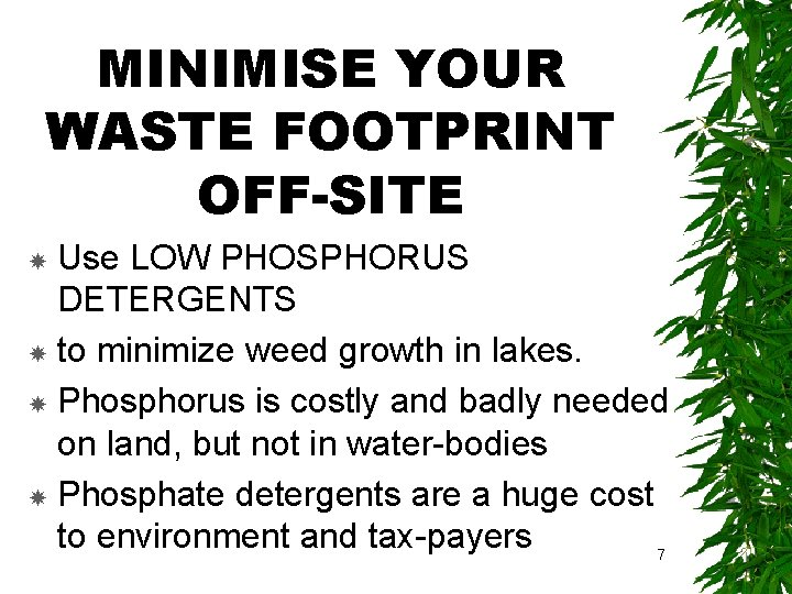 MINIMISE YOUR WASTE FOOTPRINT OFF-SITE Use LOW PHOSPHORUS DETERGENTS to minimize weed growth in