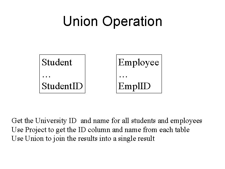 Union Operation Student … Student. ID Employee … Empl. ID Get the University ID
