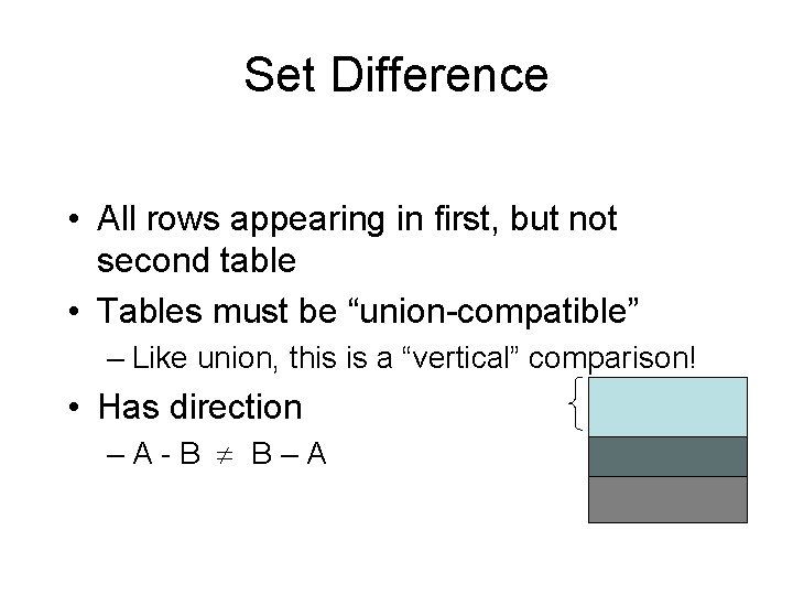 Set Difference • All rows appearing in first, but not second table • Tables