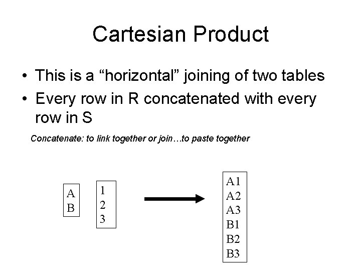 """Cartesian Product • This is a """"horizontal"""" joining of two tables • Every row"""