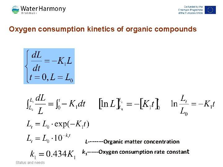 Oxygen consumption kinetics of organic compounds L-------Organic matter concentration k 1 ------Oxygen consumption rate