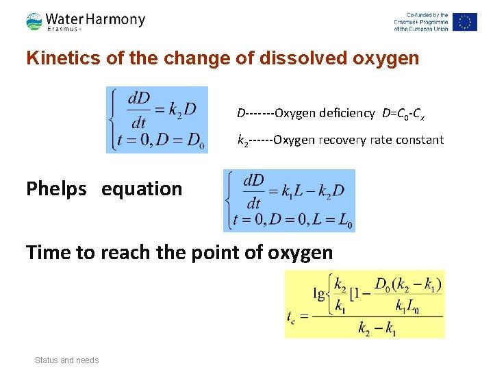 Kinetics of the change of dissolved oxygen D-------Oxygen deficiency D=C 0 -Cx k 2