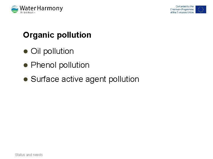 Organic pollution l Oil pollution l Phenol pollution l Surface active agent pollution Status