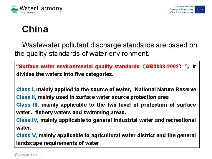 China Wastewater pollutant discharge standards are based on the quality standards of water environment.