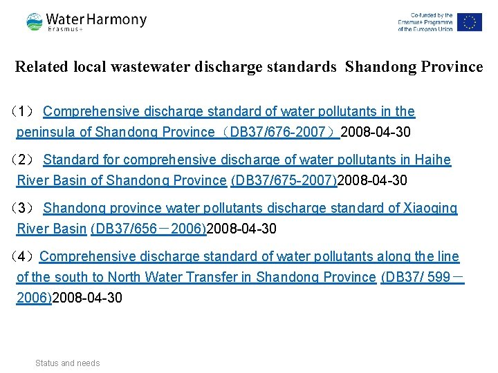 Related local wastewater discharge standards Shandong Province (1) Comprehensive discharge standard of water pollutants