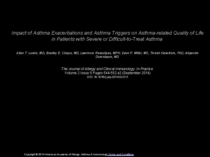 Impact of Asthma Exacerbations and Asthma Triggers on Asthma-related Quality of Life in Patients