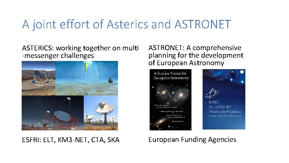 A joint effort of Asterics and ASTRONET ASTERICS: working together on multi -messenger challenges