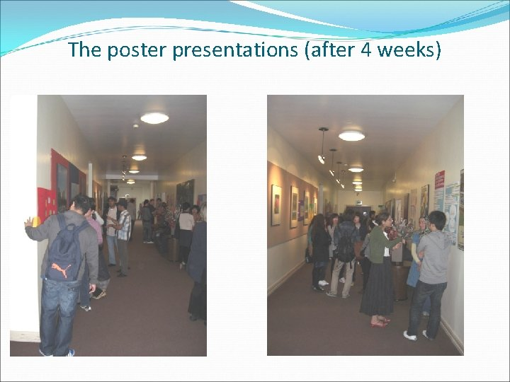 The poster presentations (after 4 weeks)