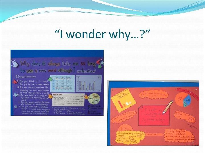 """""""I wonder why…? """""""