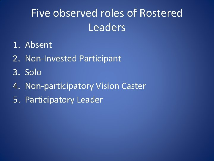 Five observed roles of Rostered Leaders 1. 2. 3. 4. 5. Absent Non-Invested Participant