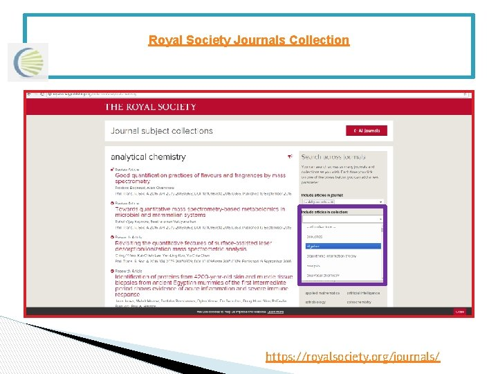 Royal Society Journals Collection https: //royalsociety. org/journals/