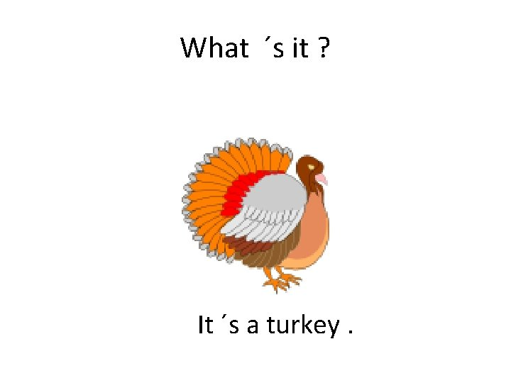 What ´s it ? It ´s a turkey.