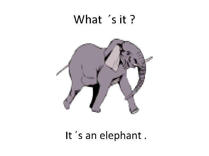 What ´s it ? It ´s an elephant.