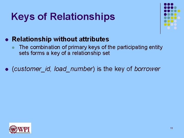 Keys of Relationships l Relationship without attributes l l The combination of primary keys