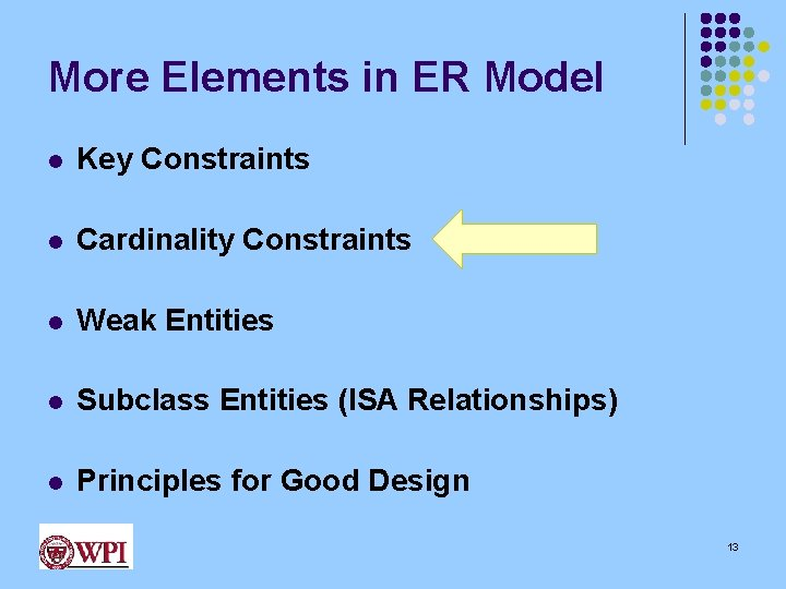 More Elements in ER Model l Key Constraints l Cardinality Constraints l Weak Entities