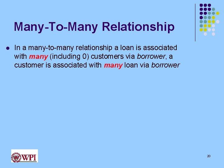 Many-To-Many Relationship l In a many-to-many relationship a loan is associated with many (including