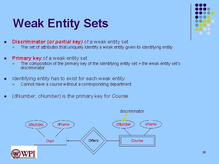 Weak Entity Sets l Discriminator (or partial key) of a weak entity set l