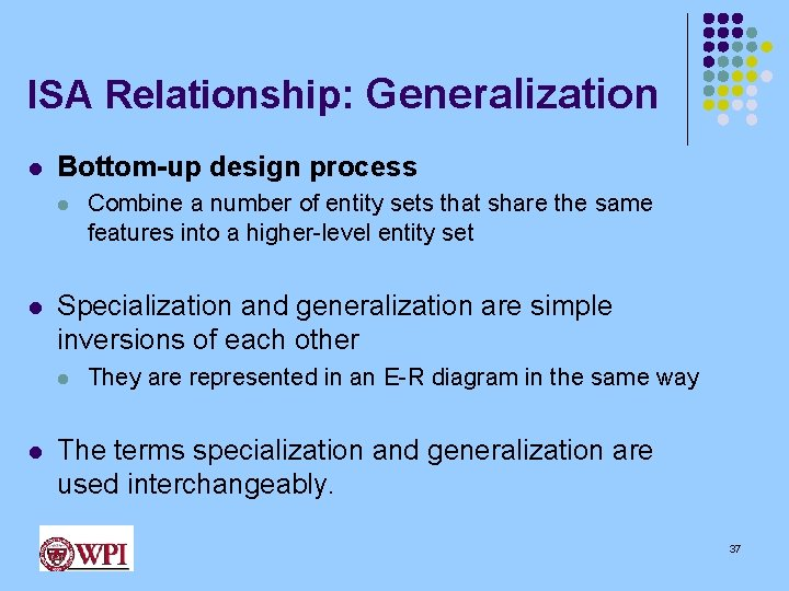 ISA Relationship: Generalization l Bottom-up design process l l Specialization and generalization are simple