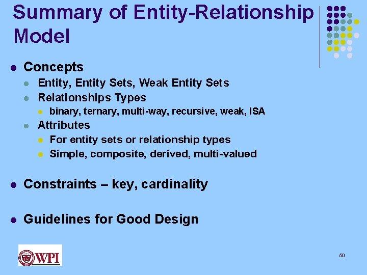Summary of Entity-Relationship Model l Concepts l l Entity, Entity Sets, Weak Entity Sets