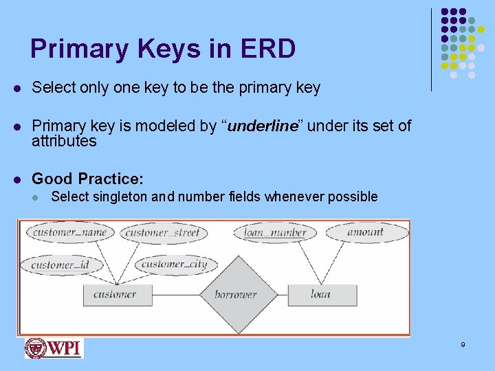 Primary Keys in ERD l Select only one key to be the primary key
