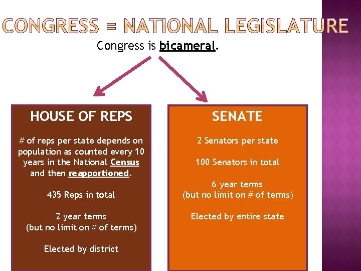 Congress is bicameral. HOUSE OF REPS SENATE # of reps per state depends on