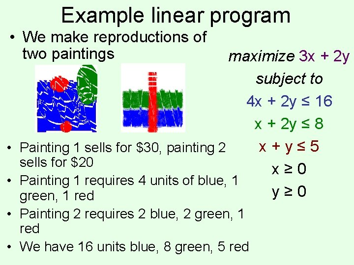 Example linear program • We make reproductions of two paintings maximize 3 x +