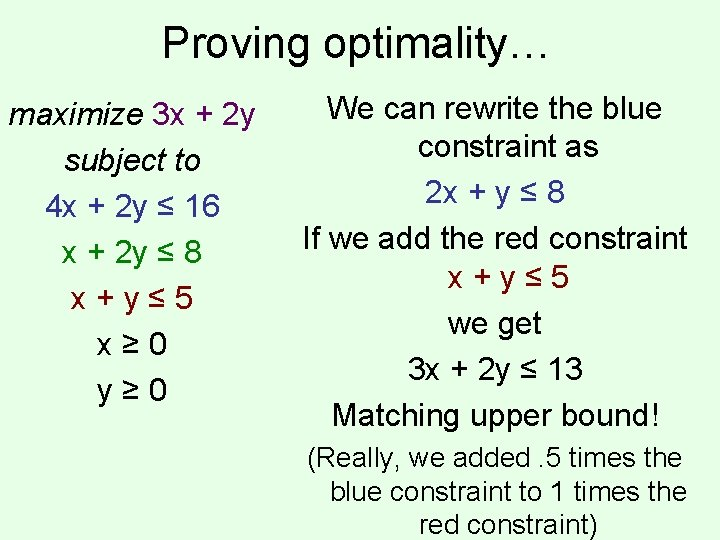 Proving optimality… maximize 3 x + 2 y subject to 4 x + 2