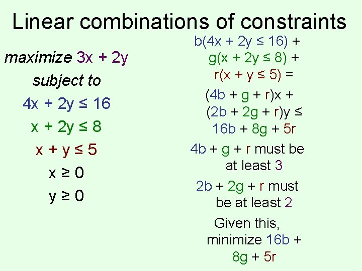 Linear combinations of constraints maximize 3 x + 2 y subject to 4 x