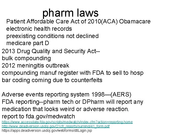 pharm laws Patient Affordable Care Act of 2010(ACA) Obamacare electronic health records preexisting conditions