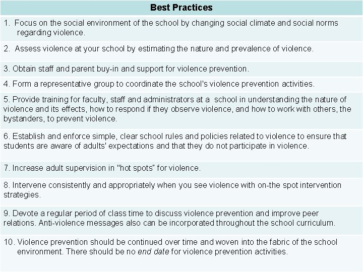 Best Practices 1. Focus on the social environment of the school by changing social