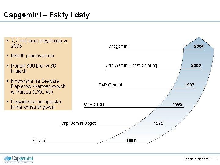 Capgemini – Fakty i daty • 7, 7 mld euro przychodu w 2006 Capgemini