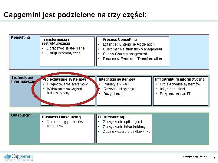 Capgemini jest podzielone na trzy części: Konsulting Transformacja i restrukturyzacja • Doradztwo strategiczne •