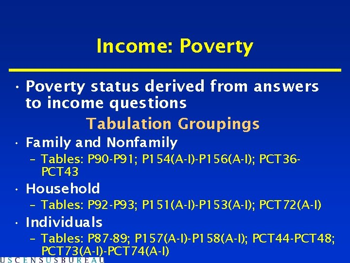 Income: Poverty • Poverty status derived from answers to income questions Tabulation Groupings •