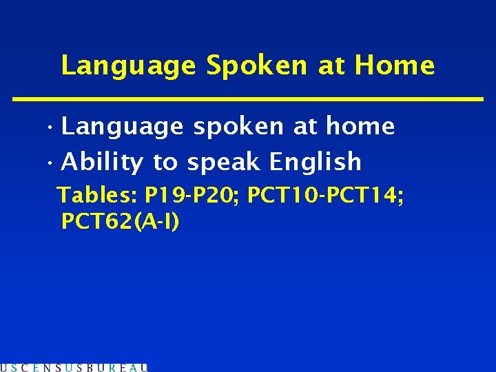 Language Spoken at Home • Language spoken at home • Ability to speak English
