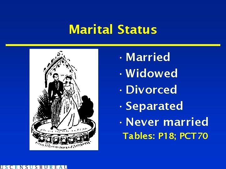 Marital Status • Married • Widowed • Divorced • Separated • Never married Tables: