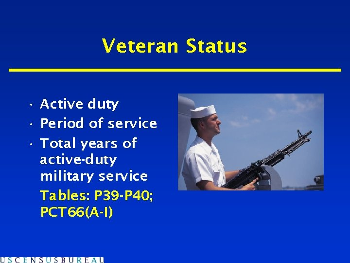 Veteran Status • Active duty • Period of service • Total years of active-duty