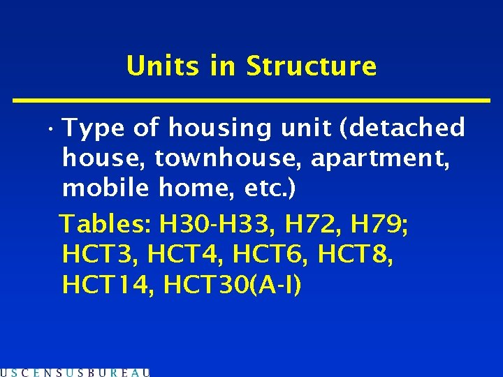 Units in Structure • Type of housing unit (detached house, townhouse, apartment, mobile home,