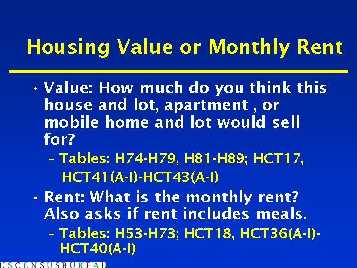 Housing Value or Monthly Rent • Value: How much do you think this house