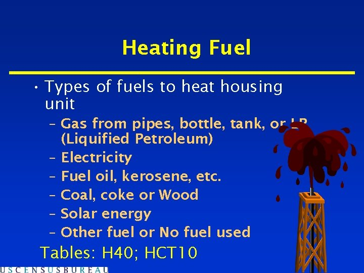 Heating Fuel • Types of fuels to heat housing unit – Gas from pipes,
