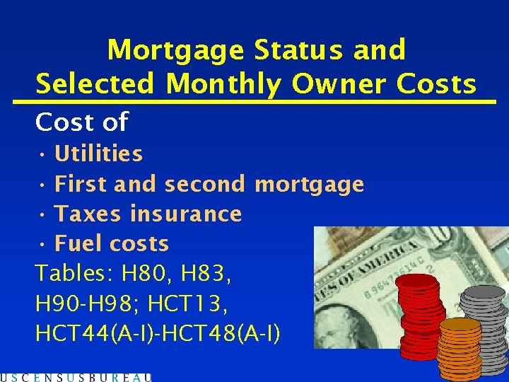 Mortgage Status and Selected Monthly Owner Costs Cost of • Utilities • First and